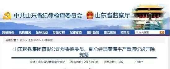 """原山钢日照精品钢基地总指挥蔡漳平被""""双开"""""""