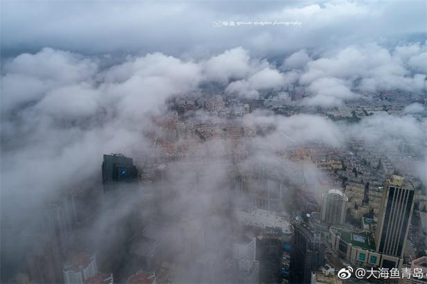 近日,青岛绝美平流雾景观。极目远眺,城市被一层氤氲的雾气环绕,犹如童话世界,给盛夏时节的青岛增添了几分神秘。